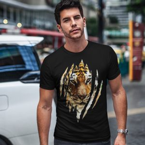 Tiger Face Scratch Ripped Claws T-Shirt