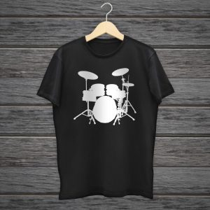 Drummer Graphic T-shirt With Drums Silhouette