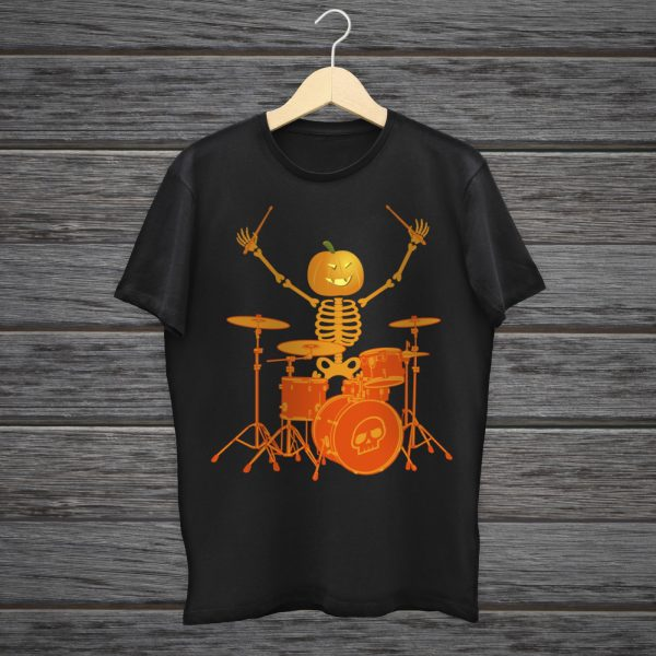 Drummer Halloween Skeleton T-Shirt