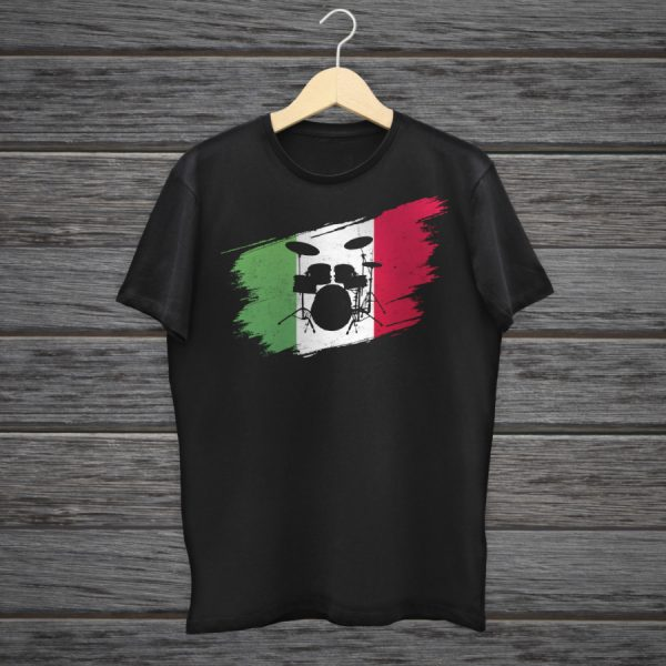 Vintage Drummer T-Shirt With Italian Flag For Drummers